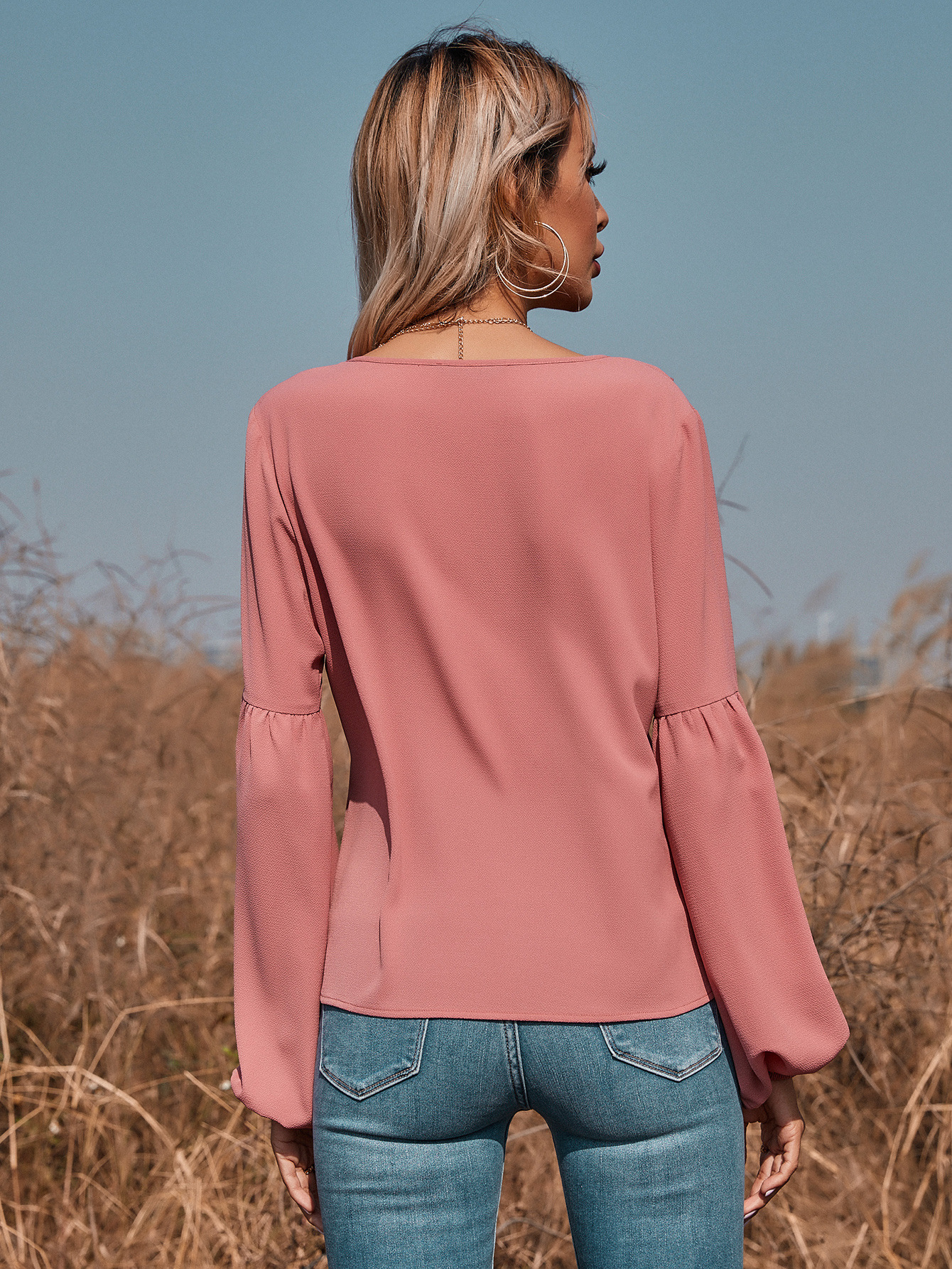 V-neck Tie Long Sleeve Top NSGHY43730