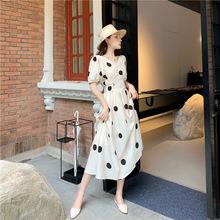 韩版很仙的前后两穿波点法式甜美小清新短袖中长款连衣裙