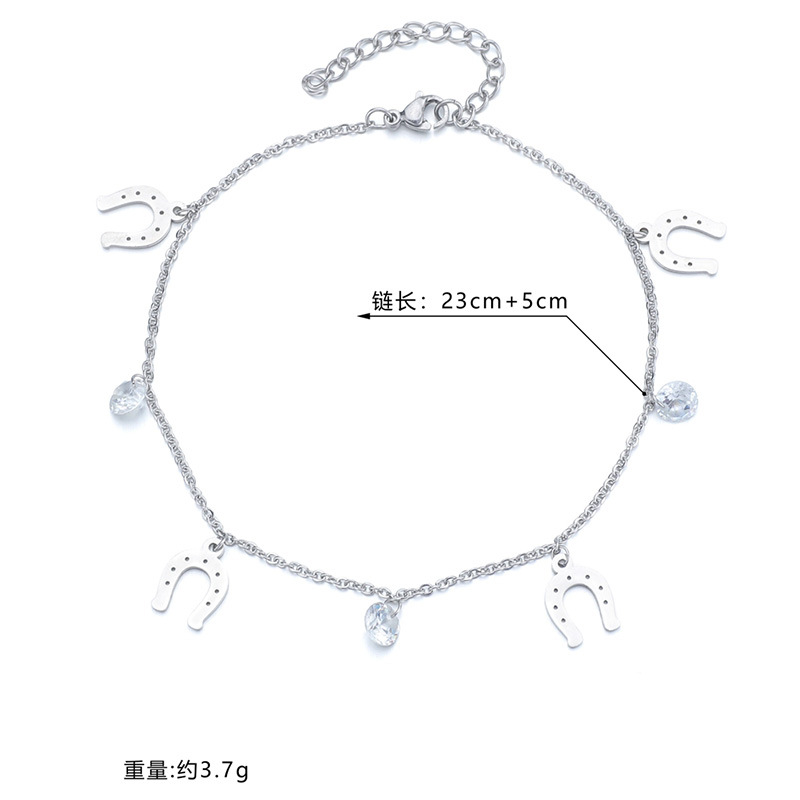 Nihaojewelry wholesale jewelry simple simple pendent diamond stainless steel anklet NHHF384144