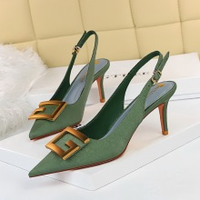 8999-5 European and American style banquet women's shoes with thin heel, high heel, shallow mouth, pointed end and hollow back trip strap, single shoe with metal square buckle