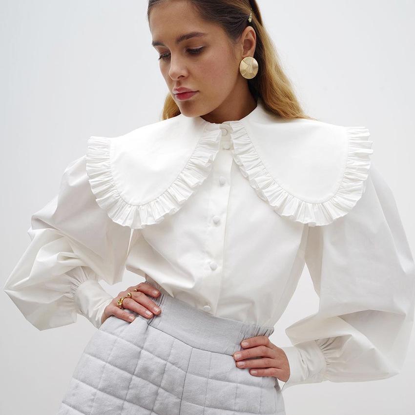 2021法式气质宫廷风娃娃领白色纯棉衬衫女春季欧美木耳边长袖衬衣