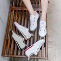 帆布鞋一脚蹬女2021年春季百搭板鞋学生韩版in新款ulzzan小白鞋潮