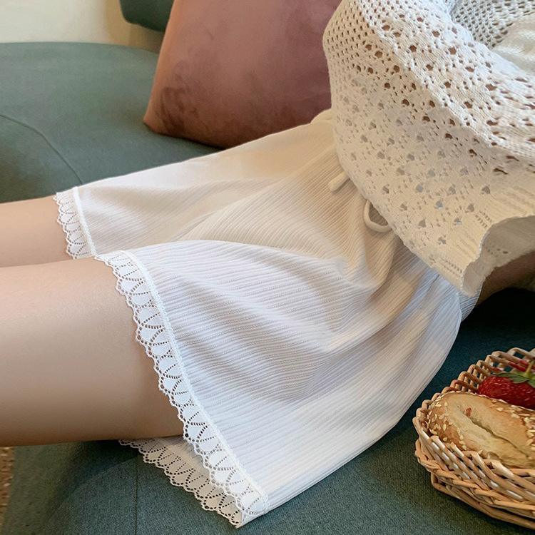 宽松冰丝安全裤女大码防走光可外穿薄款打底短裤蕾丝高腰保险裤女