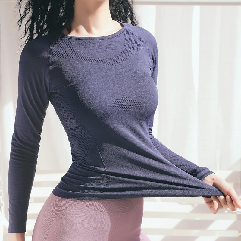 瑜伽服长袖女孕妇可穿专业速干弹力紧身显瘦上衣秋冬款高端运动服