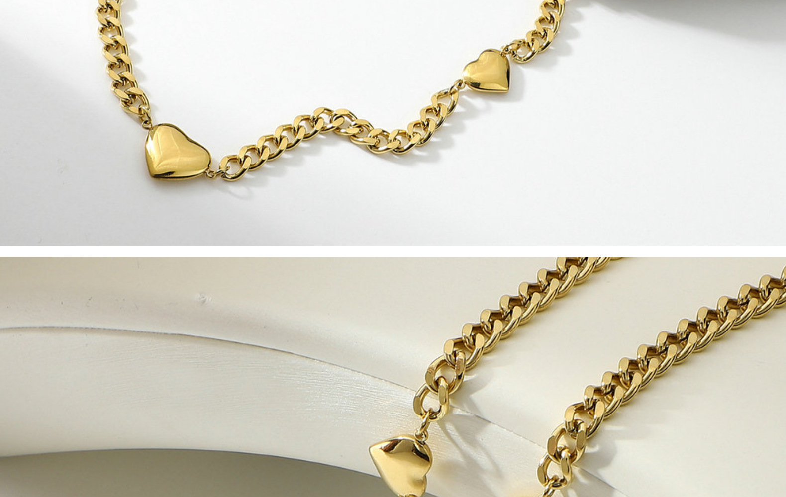 Fashion Heart 14K Gold Stainless Steel Necklace NHJIE359174
