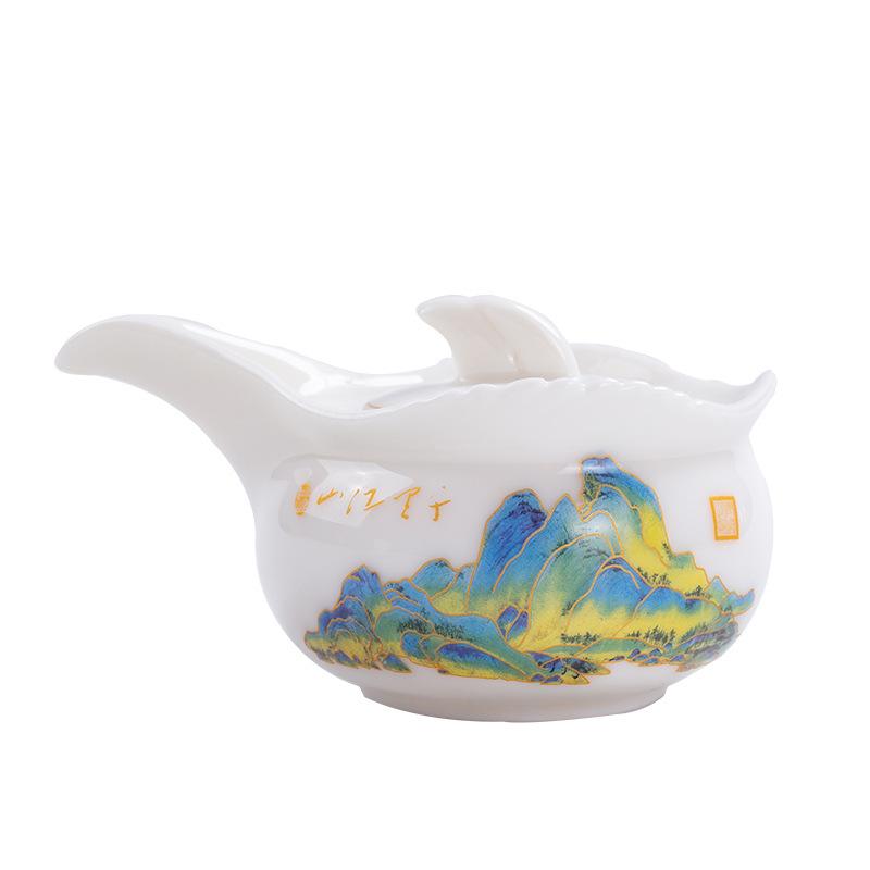 家用办公室陶瓷羊脂玉茶具套装旅行随身便携泡茶快客壶