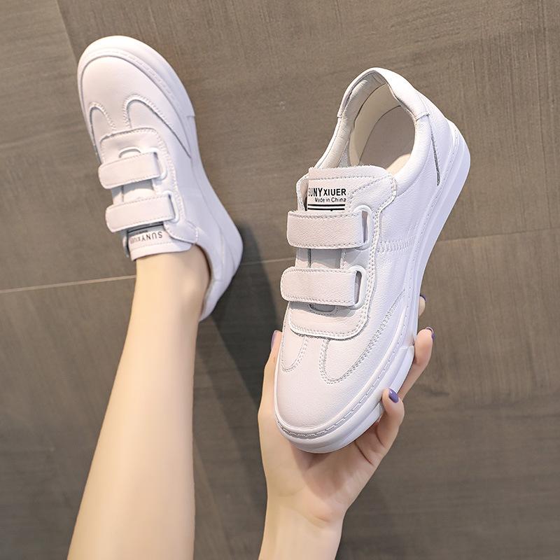 2021早春新款女鞋 皮质透气懒人一脚蹬板鞋 魔术贴休闲小白鞋批发