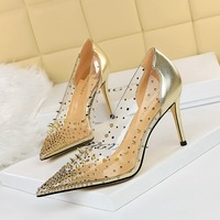 7818-5 European and American wind hot metal rivets high heel with shallow pointed mouth transparent diamond stitching hollow out shoes