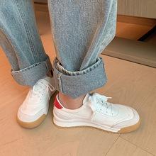 2021春夏新款網紅休閑鞋潮百搭低幫板鞋圓頭平底系帶舒適小白鞋女