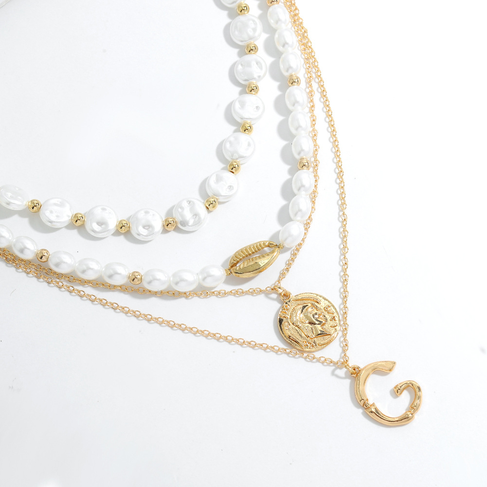 simple double pearl letter G exaggerated necklace NHJQ307861