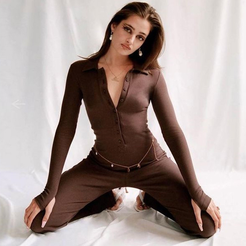 solid color long-sleeved single-breasted jumpsuit nihaostyles clothing wholesale NSFD81705