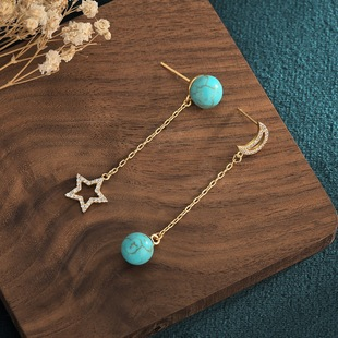 Retro style design copper gold-plated stars and moon asymmetrical inlaid turquoise tassel earrings earrings one generation