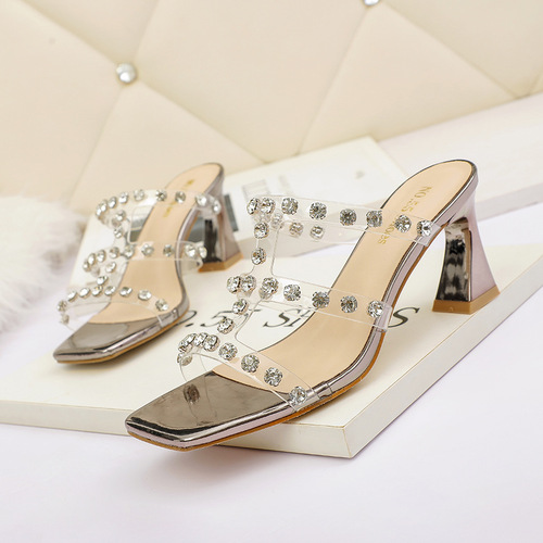 The 5569-8 han edition fashion sexy t high heels show thin transparent diamond sandals, thick with web celebrity for women's shoes