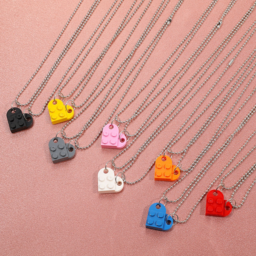 new fashion style heartshaped building block couple necklace NHDP352088