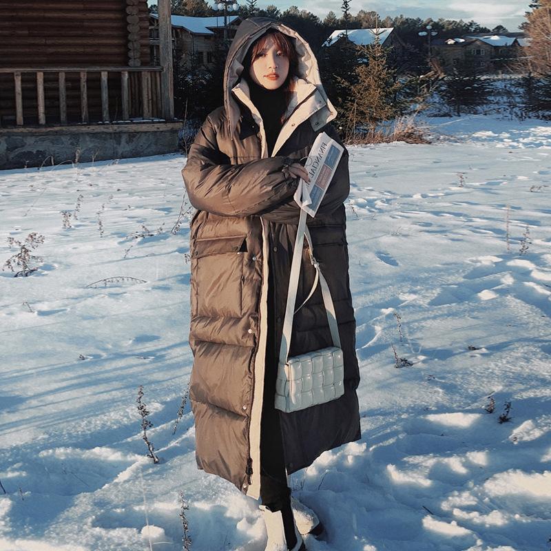 实拍新款羽绒服女冬中长款韩版宽松长款过膝撞色连帽90白鸭绒外套
