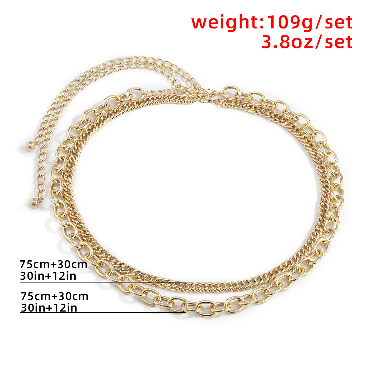 simple retro multi-layer geometric waist chain NHXR316285