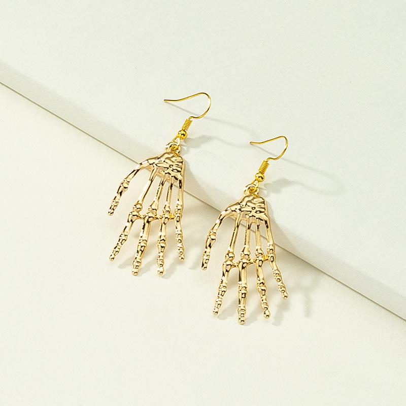 Fashion skull palm alloy earrings wholesale NHQJ342299