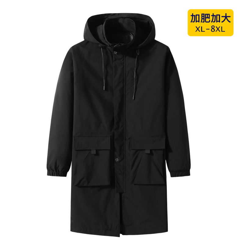 Men spring trend windbreaker fat add fat to increase the size of the long coat fat guy loose unload cap to wear trend