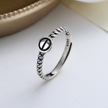潮晟S925纯银简约气质滴胶几何戒指日韩版ins个性冷淡风食指环女