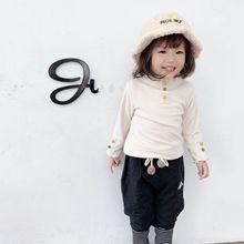 2020冬加绒加厚0-3岁女宝小童女童韩版洋气毛球啤酒领打底衫上衣