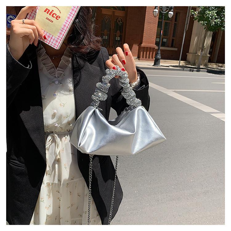 wholesale rhinestone large capacity soft leather armpit bag Nihaojewelry NHLH386297