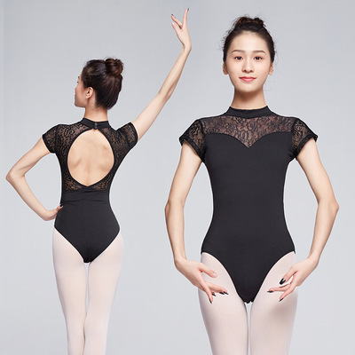 Adult  ballet ballroom latin dance black coffee lace bodysuits for women Stand-up collar lace modern dance jumpsuit gym suit Art test and practice clothes