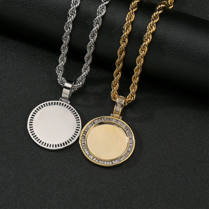 wholesale jewelry round microinlaid square zircon copper necklace Nihaojewelry NHHF384058