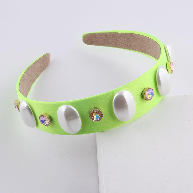 fashion color diamondstudded pearl headband  NHWJ336527