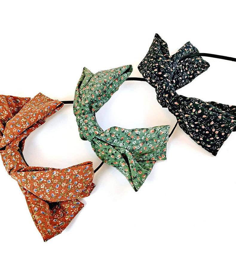 Fashion Black Double-layer Small Floral Bow Headband