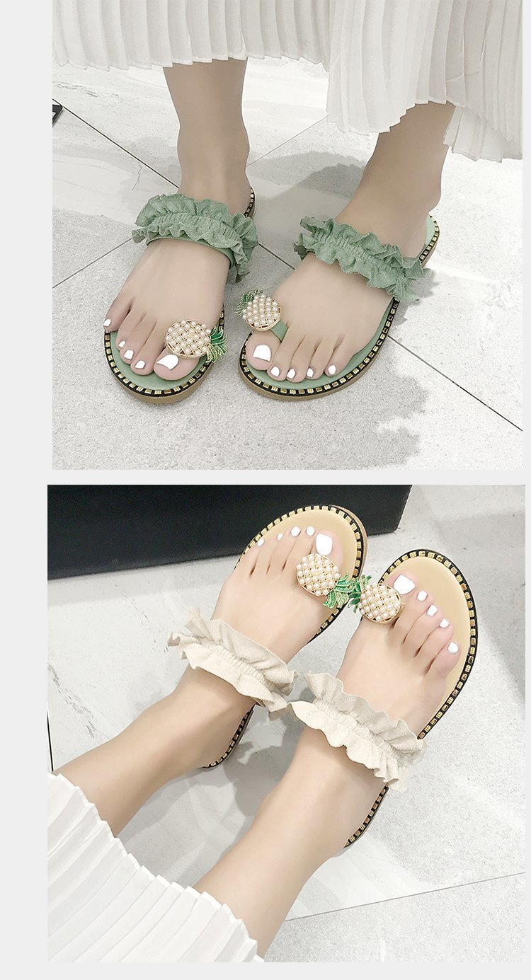pearled pineapple decor ruched slide sandals  NSZSC56119