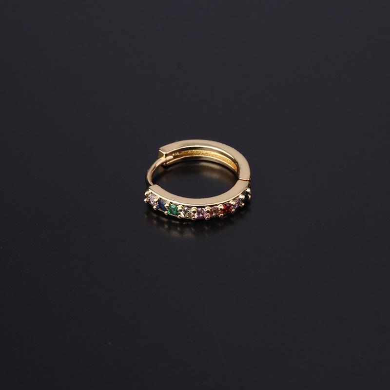 Fashion geometric copper inlaid zircon earrings wholesale NHEN347344