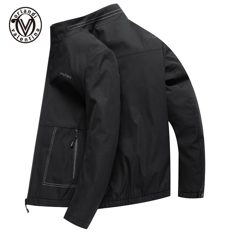 品牌夹克男2021春秋季新款青年立领外套薄款简约茄克衫商务男装