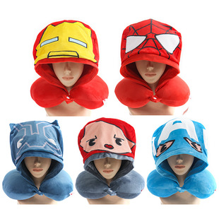 Multi-color multi-functional hooded pillow to support the neck, hooded design, block the light and block the air-conditioning wind