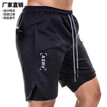 跨境直供夏季男士运动短裤宽松多袋双层五分裤男跑步训练健身裤子