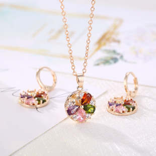 Live Source Simple Crystal Zircon Color Harajuku Women's Necklace and Earring Set