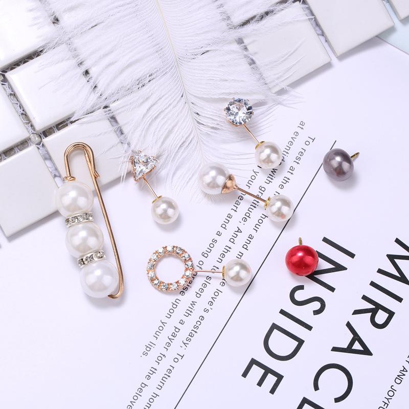 韩版双头珍珠胸针女防走光锆石一字插针别针小领扣披肩扣批发饰品