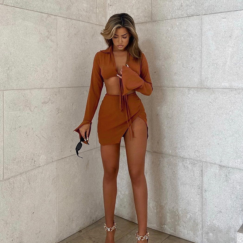 women's Lace-up long-sleeved top slit skirt suit nihaostyles clothing wholesale NSFLY77680