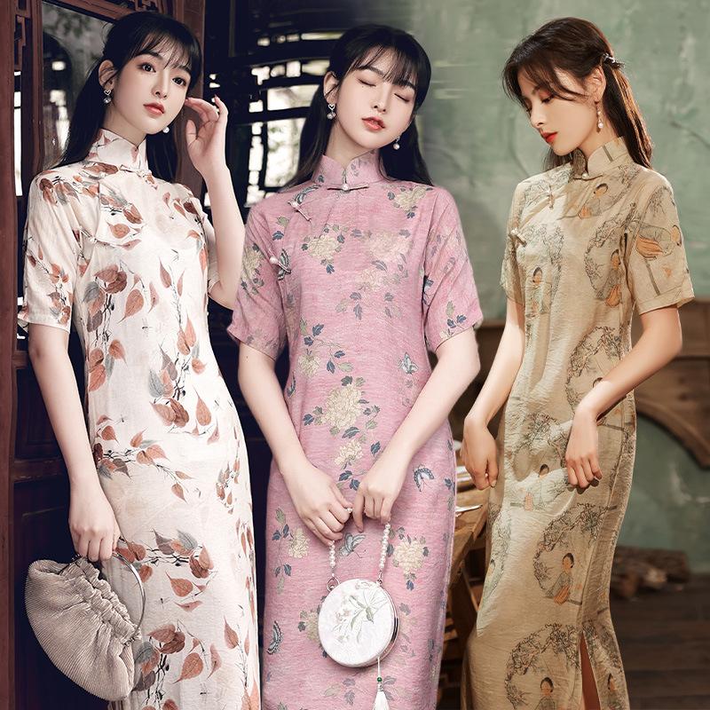 Chinese dresses qipao Shanghai cheongsam ramie retro female long slightly loose version dress