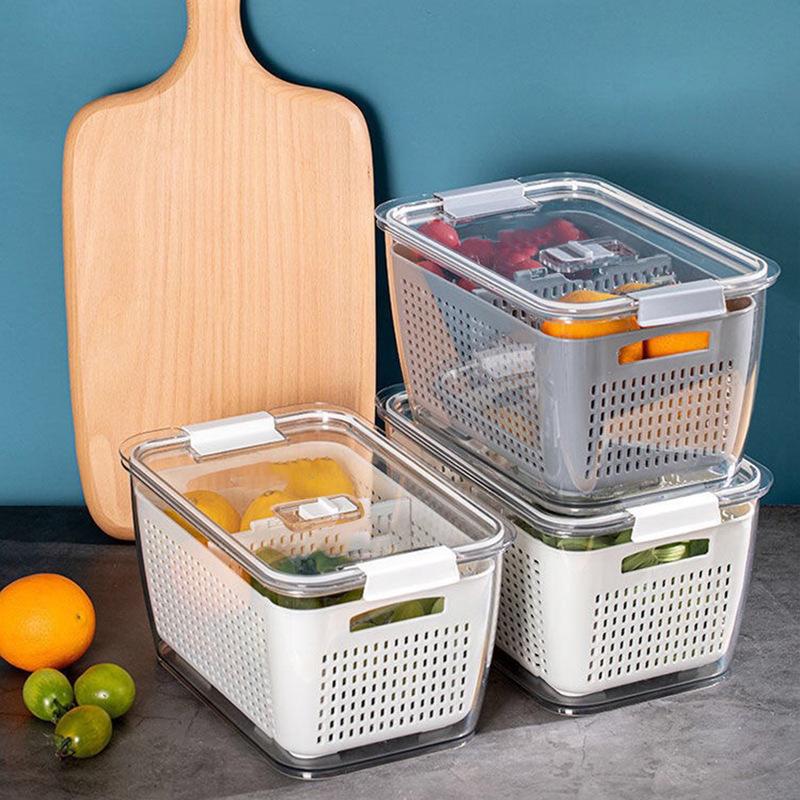 日式多功能雙層瀝水透明冰箱保鮮盒分隔大容量果蔬清潔分格收納盒