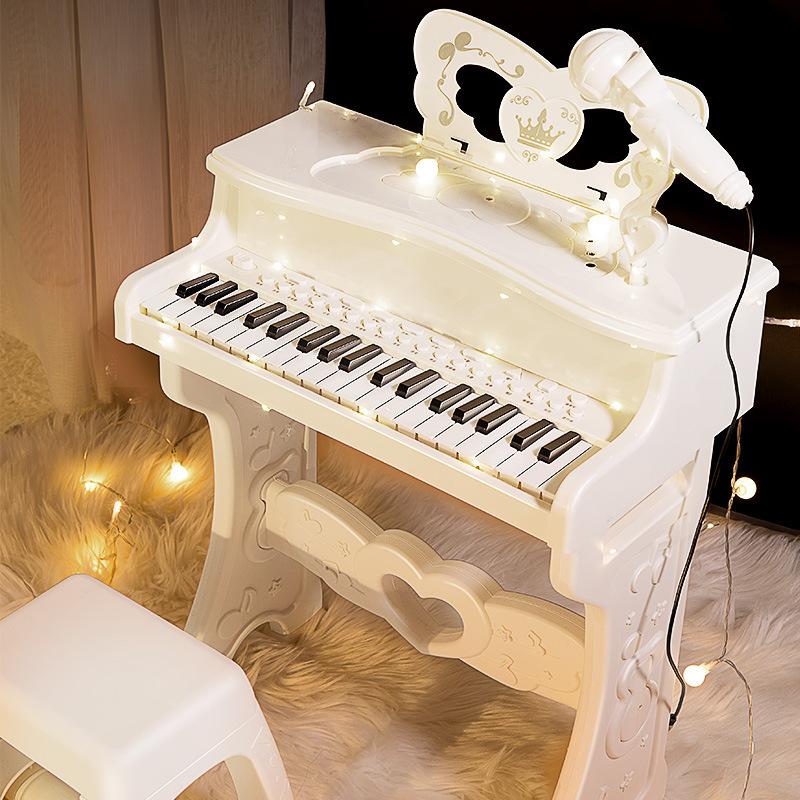 儿童灯光音乐钢琴玩具多功能电子琴带话筒初学者练学弹琴批发送礼