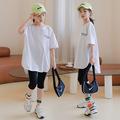 女童T恤 夏韩版童装休闲运动字母长款短袖上衣打底裤两件套中大童