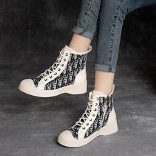 上海杰骤春秋舒适单靴牛仔布加牛皮系带短靴复古休闲马丁女靴