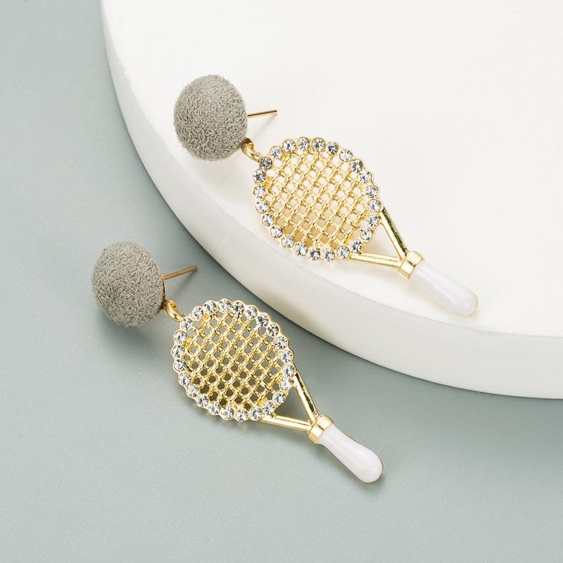 new alloy diamond tennis racket earrings NHLN316312