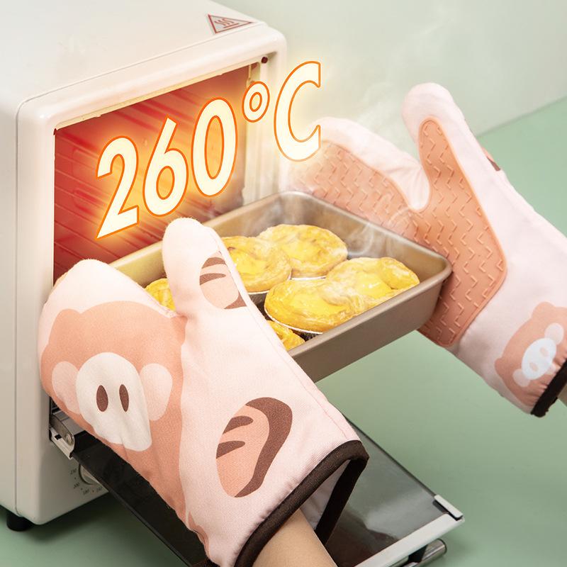 3606厨房烤箱手套隔热防烫加厚耐高温防热烘焙工具硅胶微波炉手套