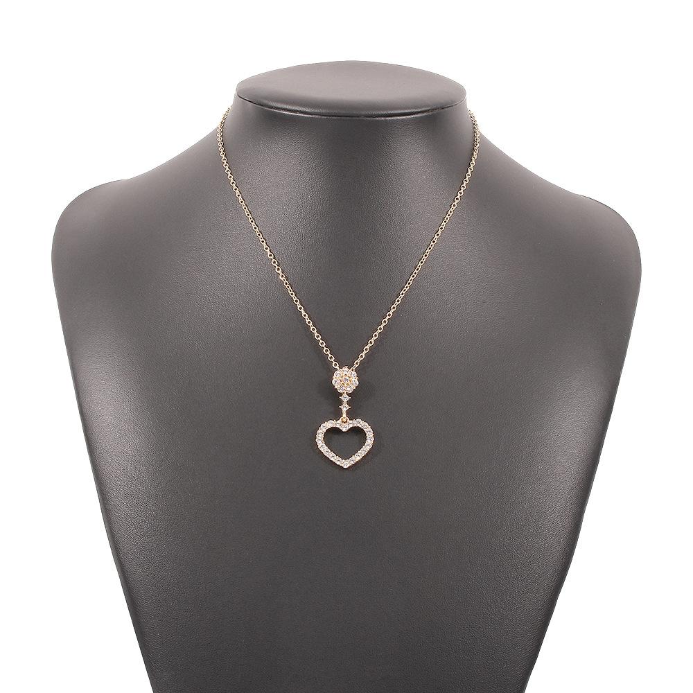 Retro geometric heart diamond necklace NHMD360185