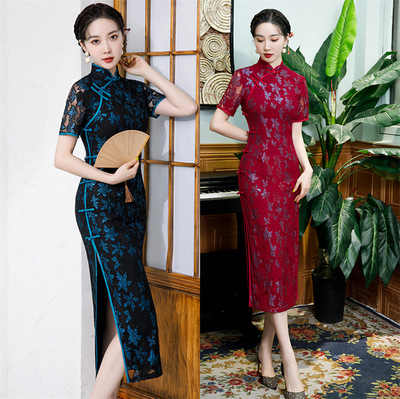 Green wine color Lace Cheongsam Chinese dress qipao for women Long Split Lace Hollow Catwalk Show singers host Improved Chinese Style Dress