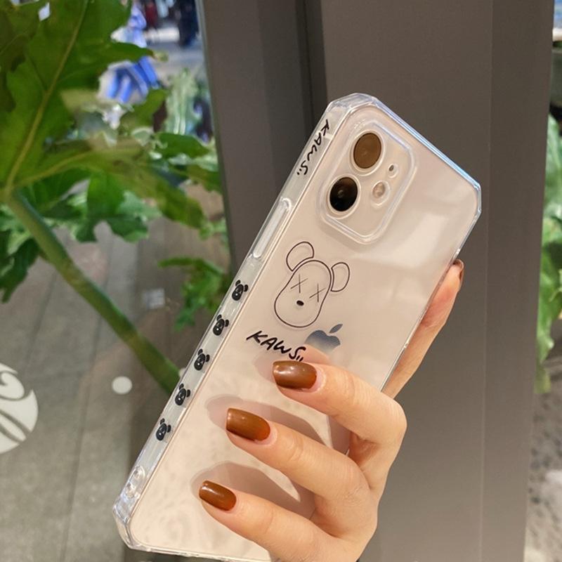 潮牌kaws暴力熊公仔侧边图案适用iphone12pro max苹果11手机壳xsr