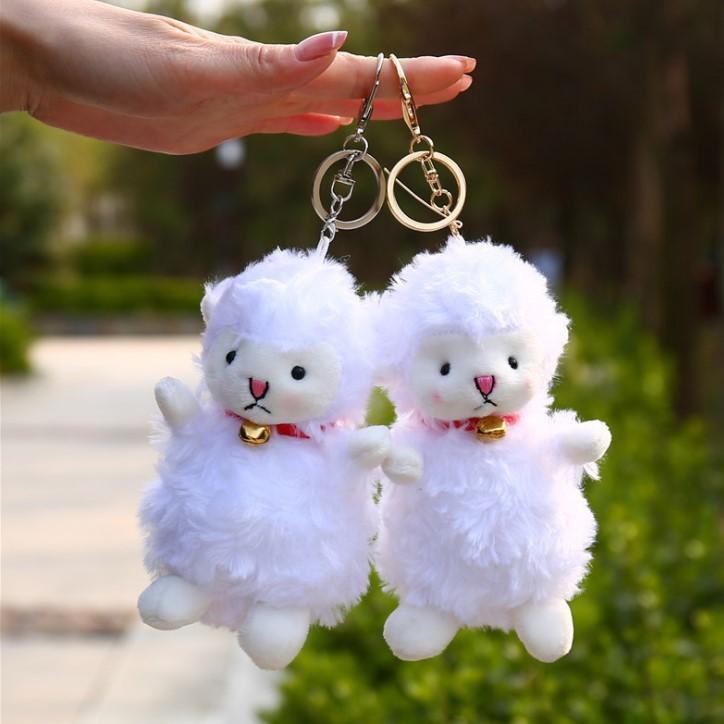 卡通小羊公仔包包掛件鈴鐺羊羊鑰匙扣小號毛絨玩具婚禮禮品贈品