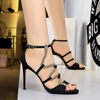 368-6 in Europe and the sexy nightclub fine summer high heels for women's shoes with high heels satin hollow out snake rhinestone sandals