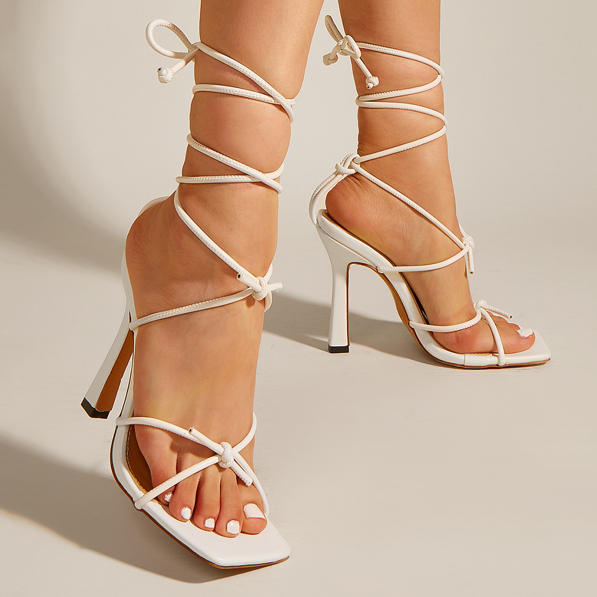 fashion square toe strappy high heel opentoe sandals NHSO367874